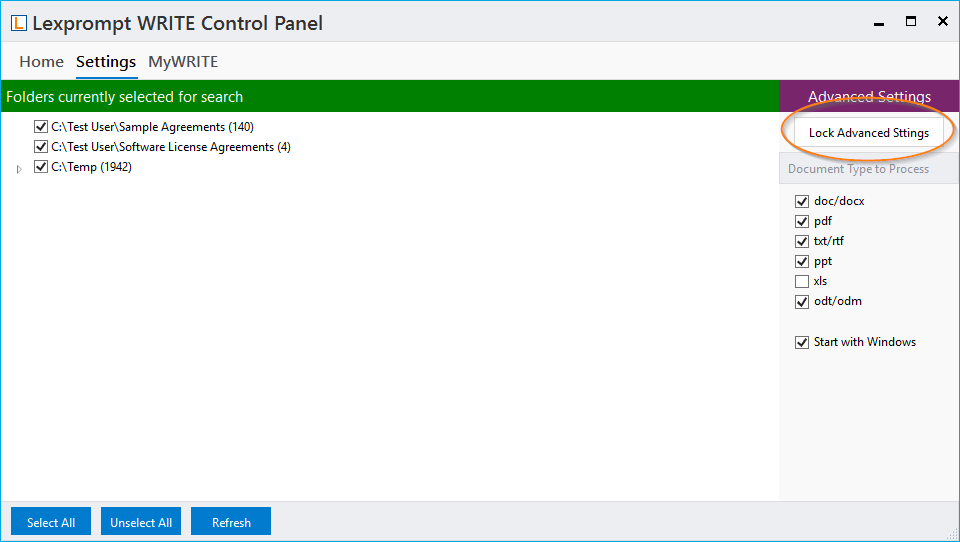 Lexprompt WRITE folder selection in control panel